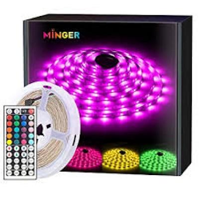 MINGER LED Strip Lights Kit 32.8ft, RGB Color Changing LED Lights for Room, Bedroom, Home, Kitchen Cabinet, Party Decoration, with IR Remote, 5050 LEDs, DIY Mode, Non-Waterproof (2 Rolls of 16.4ft)
